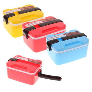 3 Coloes Cute Lunch Box 2Layer Microwave Handle Bento Lunch Box Picnic Food Container Spoon Storage Dinnerware Sets Lunch Box: Deals Blast