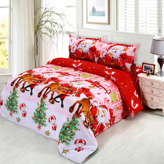 4pcs 3D Printed Bedding Set Merry Christmas Santa Claus Bedding Set Bedclothes Duvet Cover Bed Sheet housse de couette: Deals Blast