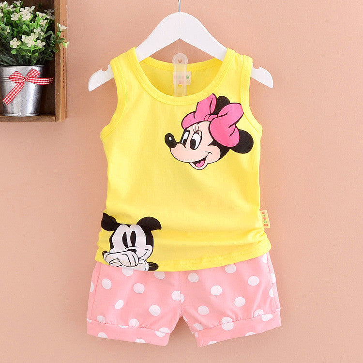 New Fashion Summer Baby Girl Clothing Set Cartoon Dot Shorts Little Girls Summer Sets Children Kids Clothes Set Toddler Girl Deals Blast