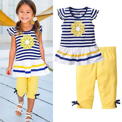 2016 New Girls Clothing Sets Baby Kids Clothes Children Clothing 2 PCS Set Short Sleeve Striped T Shirt + Pants Girls Clothes - Deals Blast