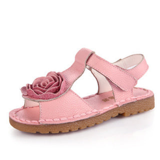 Summer Children Sandals Princess Leather Sandals Shoes Causal Flat Flower Girls Shoes Non-slip Beach Soft Bottom Shoes - Deals Blast