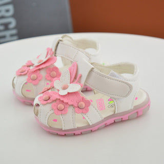 2017 flowers baby girl sandals LED light up glowing kids sneaker summer breathable children casual shoes newborn soft bottom - Deals Blast