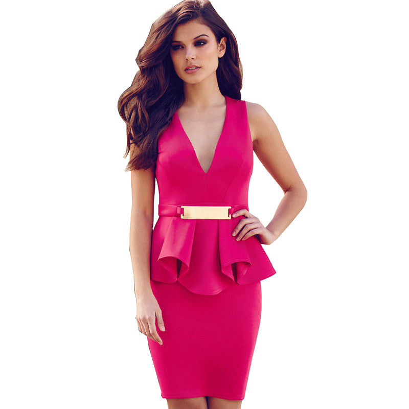 R70066 Good quality black red beautiful plus size women clothing v-neck sleeveless short party dresses sexy mini peplum dress Deals Blast