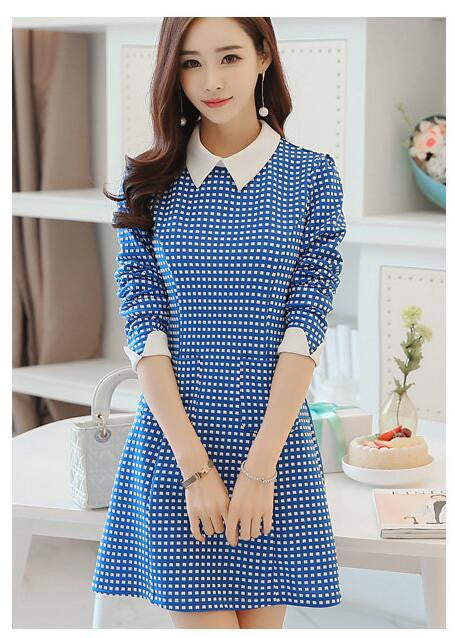 2017 Women Office Dresses Plaid Stitching Bottoming Long-sleeved Blue Dress Free Shipping - Deals Blast