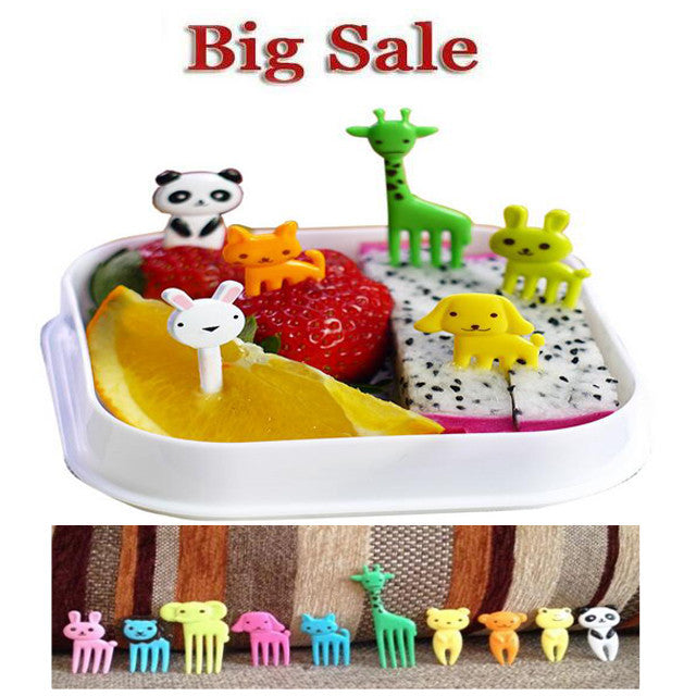 10 lot New Animal Farm mini cartoon fruit fork sign resin fruit toothpick bento lunch for children decorative plastic sign - Deals Blast