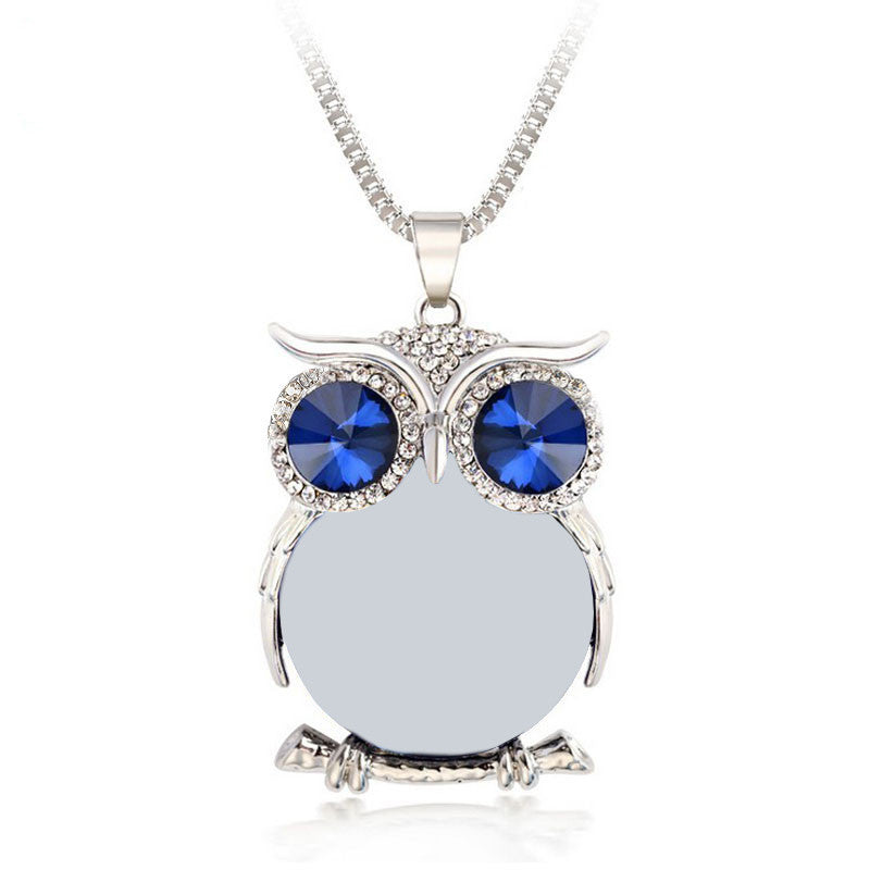 Deals Blast: Best Seller 8 Colors Trendy Owl Necklace Fashion Rhinestone Crystal Jewelry Statement Women Necklace Silver Chain Long Necklaces & Pendants Deals Blast