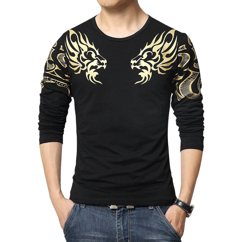Deals Blast: Best Seller 2016 Autumn new high-end men's brand t-shirt fashion Slim Dragon printing atmosphere t shirt Plus size long-sleeved t shirt men Deals Blast