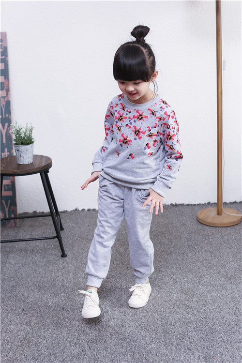 Spring autumn girls clothing set floral printed kids suit set casual two-piece sport suit for girl tracksuit children clothing Deals Blast