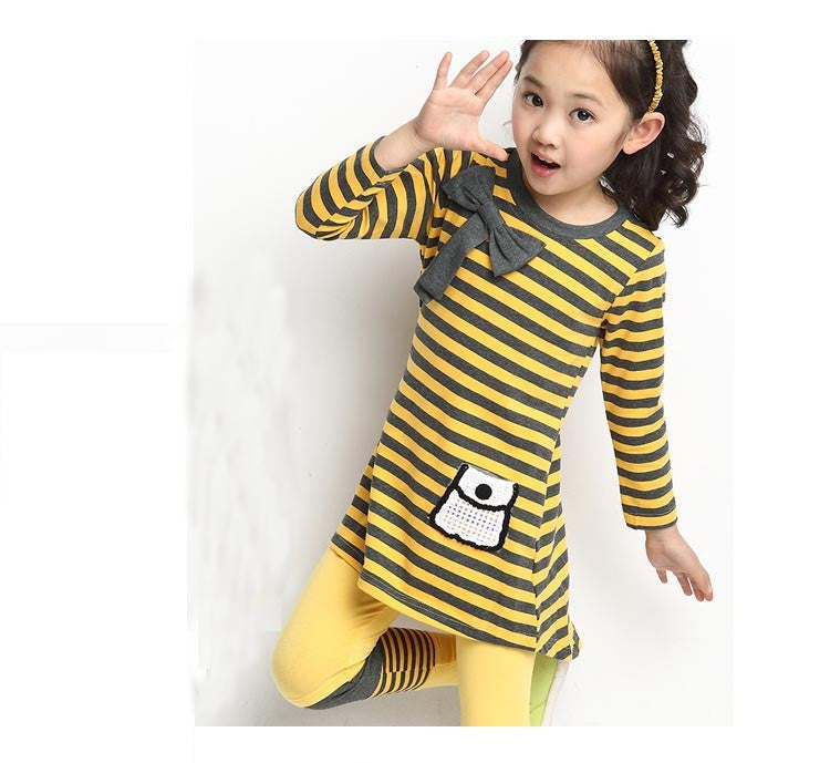 Deals Blast: Best Seller 2016 Girls clothing sets Autumn winter kids girls clothes long sleeve stripe T-shirt + leggings suits teenage Children clothing Deals Blast