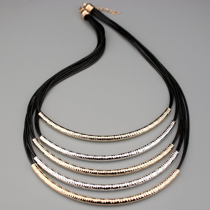 Deals Blast: 2016 New Jewelery Accessories Metal Tube Multilayer Black Leather Chain Necklaces for Women Statement Necklaces & Pendants Deals Blast