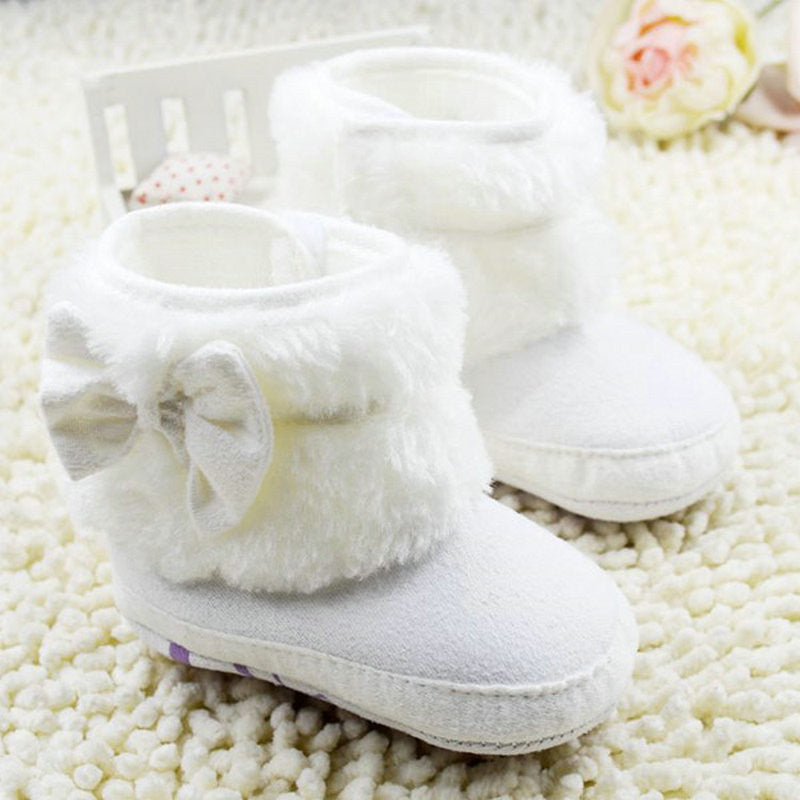Deals Blast: Newborn Baby Girl Bowknot Fleece Snow Boots Booties Kids Princess White Winter Shoes Deals Blast