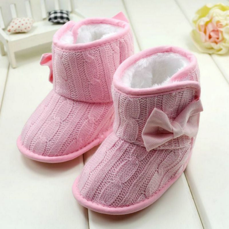 Deals Blast: Baby Girl Knit Bowknot Faux Fleece Snow Boot Soft Sole Kids Wool Baby Shoes 3-18M Deals Blast