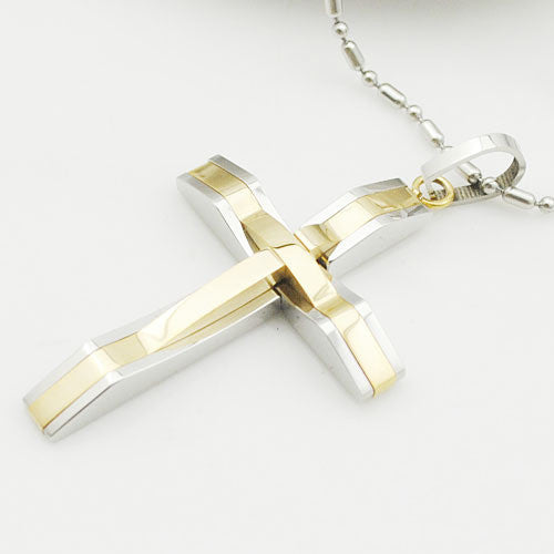 Deals Blast: Best Seller 2016 Cross pendant necklace men's stainless steel crucifix jewelry women's necklaces punk fashion waves shaped free shipping Deals Blast
