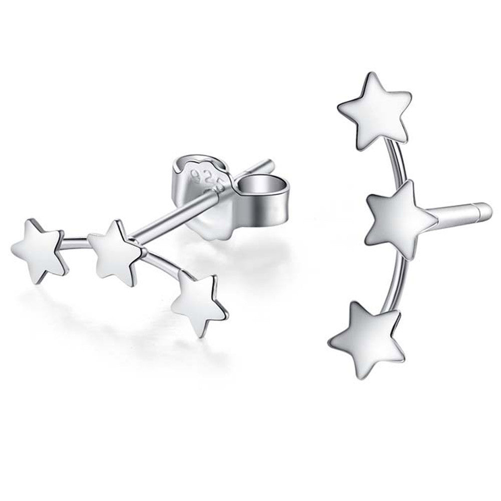 Deals Blast: Women Simple Ear Studs Jewelry 1 Pair Cute Silver Plated Three Star Stud Earrings Deals Blast