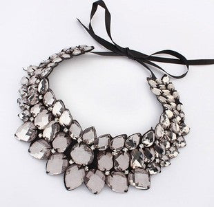 Deals Blast: Big statement ribbon acrylic collar necklace wholesale necklace Handmade Gems Crystal Choker Necklaces Statement Jewelery Deals Blast