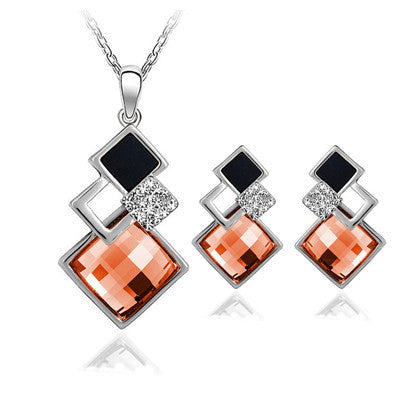 Deals Blast: 4 colors New Arrival White/18K Gold Crystal Jewelry Sets Geometry Square Fashion Jewelry Sets For Women Necklace Earrings Set Deals Blast