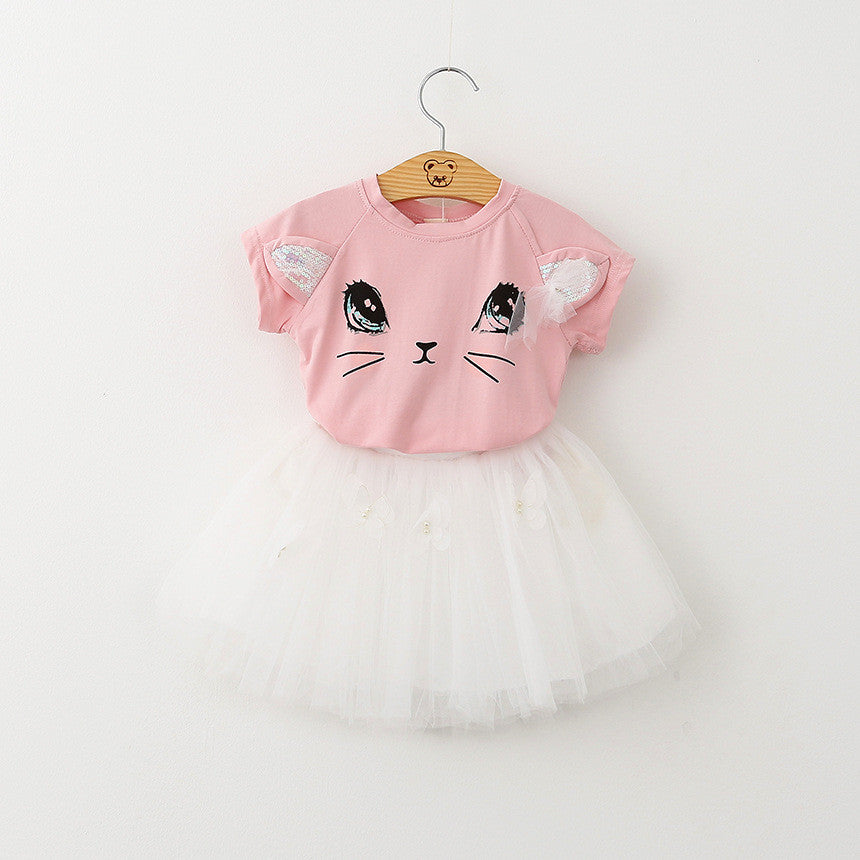Kids baby Girls Clothing Sets 2016 New Summer Fashion Style Cartoon Kitten Printed T-Shirts+Net Veil Dress 2Pcs Girls Clothes Deals Blast