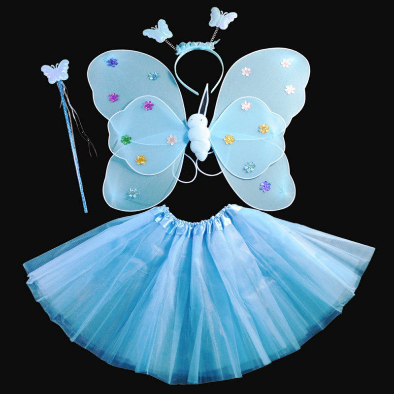 Deals Blast: 4Pcs/set Halloween Dance Costumes Cosplay Fairy Princess Kids Butterfly Wings +Wand+Headband+Tutu Skirt - Deals Blast