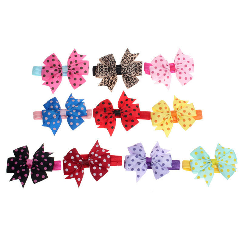 Deal Blast: Best Seller 2016 Stylish 10Pcs/lot Babys Headband Hairband Elastic Cloth Wave Point Bowknot Photography for girls Children Deals Blast