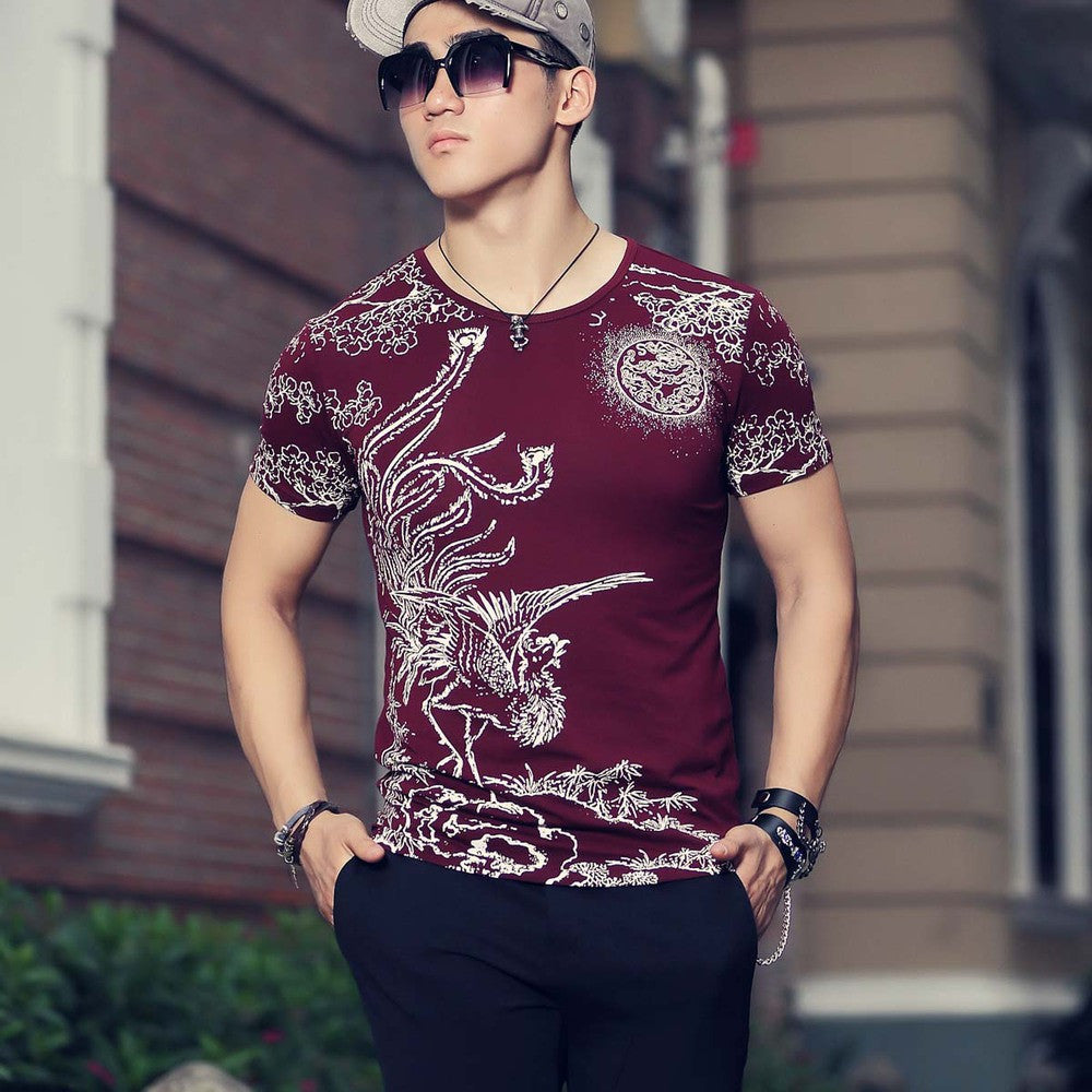 Deals Blast: Best Seller Summer Printed T Shirts Men Short-Sleeved O Neck Cotton Men Tops Tees Shirts Tiger Slim Pattern T-shirts Men Deals Blast