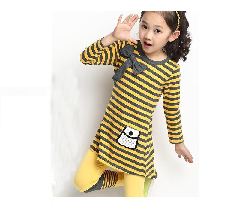 Deals Blast: Best Seller 2016 Kids clothes casual Autumn girls clothing sets long sleeve stripe T-shirt + leggings clothing sets - Deals Blast