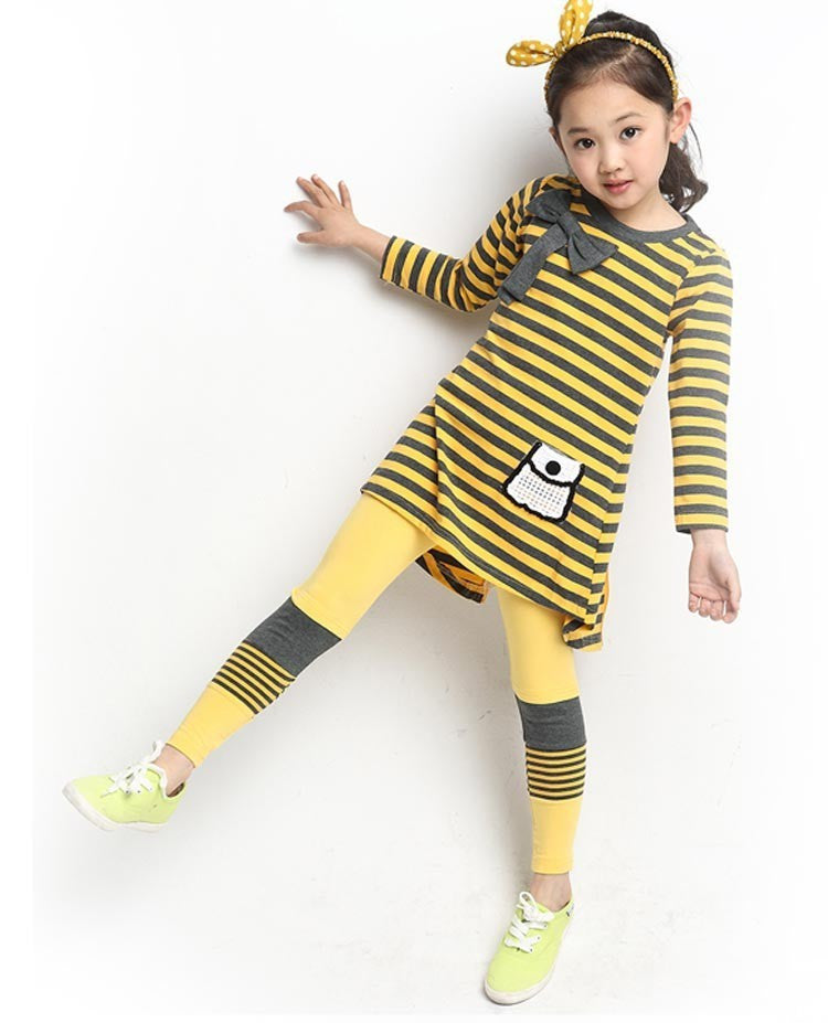 Deals Blast: Best Seller 2016 Kids clothes casual Autumn girls clothing sets long sleeve stripe T-shirt + leggings clothing sets Deals Blast