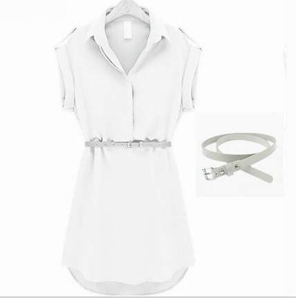 Elite Womens Dress Summer 2016: Chiffon with belt for Party Beach Office Short Sleeve femme Deals Blast