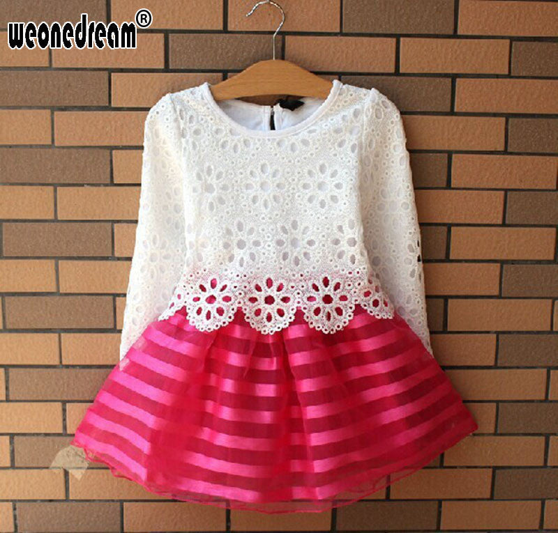 Hot Sale!2016 Summer Girl Dress Children Girls's Clothing Set Spring Long Sleeve Party Striped White Pink Princess Dress Deals Blast