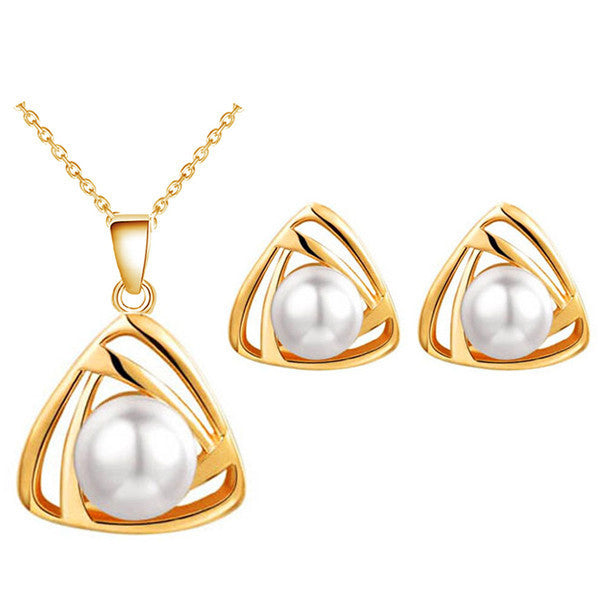 Deals Blast: 18K gold plated imitation jewelery Pearl pendant Necklace Earrings sets Deals Blast