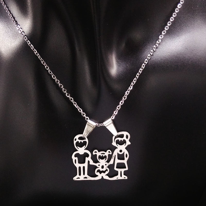 Deals Blast: Mama Family Stainless Steel Necklaces for Women Men Jewelry Cute Boy and Girl Statement Necklace 2016 Deals Blast