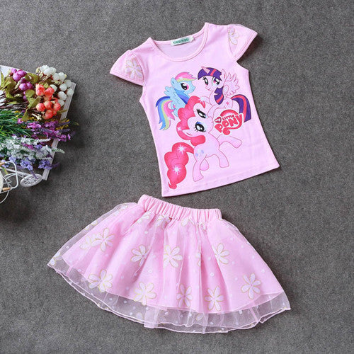 Retail 2016 New Summer Kids Girls Clothing Set Elsa t shirt + Dress Cotton Baby Girls Suits Set fashion Children Girl Clothes Deals Blast