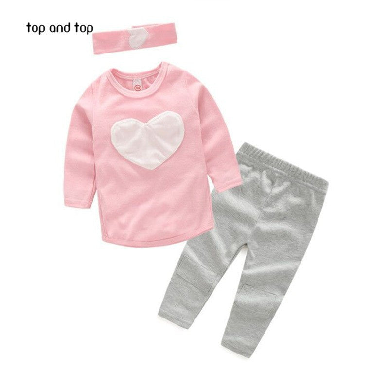 3PCS LOVE SET= 1pc head band+1pc shirts+1pc pants Children's Clothing set Girls Clothes suits Pink Red Heart Design - Deals Blast