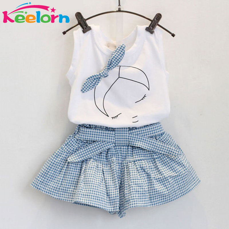 Keelorn 2016 Brand Summer Girls Clothing Sets Fashion Cotton print shortsleeve T-shirt and shorts girls clothes sport suits Deals Blast