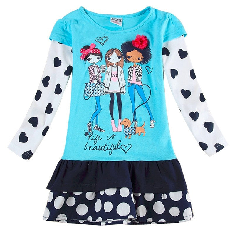 Deals Blast: Best Seller 2016 New cartoon baby girl princess flower lace dresses long sleeve children clothing kids wear Deals Blast