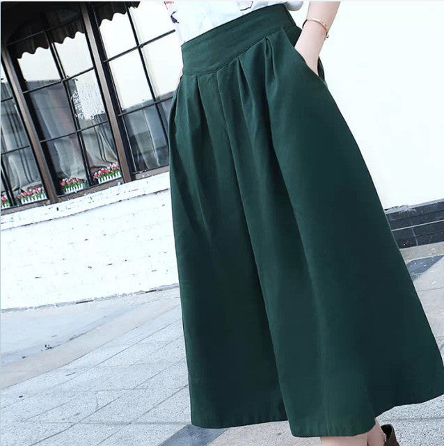 Deal Blast: 2016 summer autumn women's linen skirts, mid-calf length pleated skirts, elastic waist big bottom forest green,beige Deals Blast