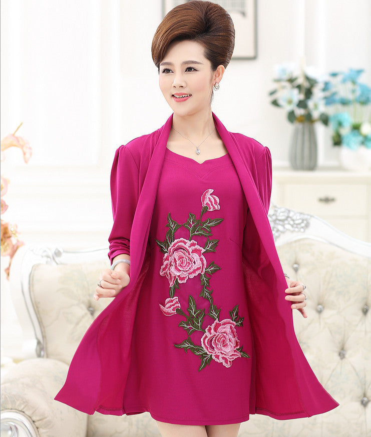 Deal Blast: 2017 Design Two Piece Set Dress Large Size Middle Age Mother Peony Embroidery Long Sleeve Dresses Spring/Autumn Women Bottom Dress 4XL - Deals Blast