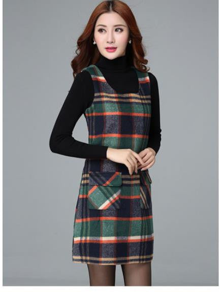 Deal Blast: 2017 Autumn And Winter Woolen Winter Dress Slim Dress Plaid Vest Fashion Slim Warm  Women Bottoming Dress - Deals Blast