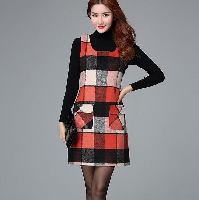 Deal Blast: 2017 Autumn And Winter Woolen Winter Dress Slim Dress Plaid Vest Fashion Slim Warm Women Bottoming Dress Deals Blast