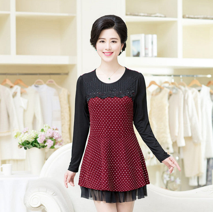 Deal Blast: 2017 New Diamond Dresses Polka Dot Gauze Patchwork Long Sleeve Dress Fashion Big Size Spring Fall Women Bottom Shirt Deals Blast