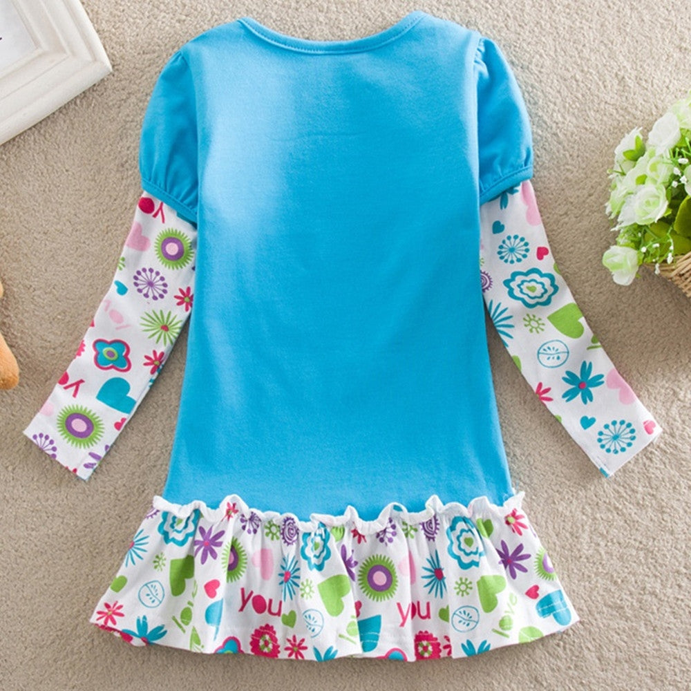 Deals Blast: Best Seller 2016 New cartoon baby girl princess flower lace dresses long sleeve children clothing kids wear - Deals Blast