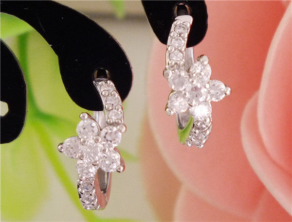 Deals Blast: Best Seller Free Shipping 1pair silver womens Clear CZ Zircon Flower hoop earrings Deals Blast