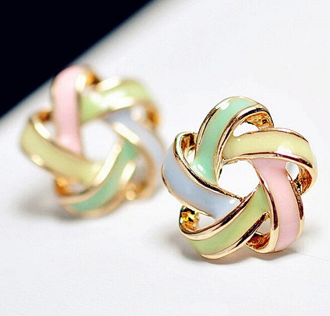 Deals Blast: Fashion Novel Jewelry Color Stripe Twist Windmill Flower Cross Charm Stud Earrings For Women Accessory Deals Blast