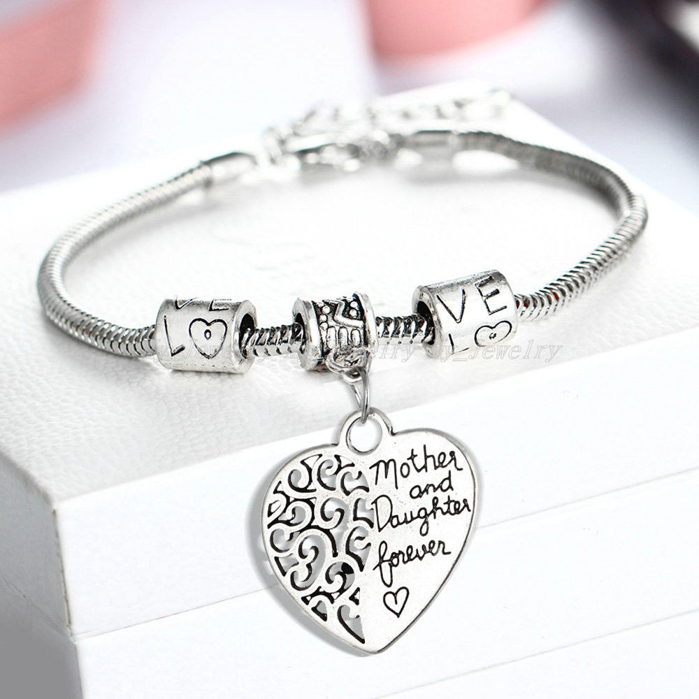 Deals Blast: 2016 Heart Bracelet Silver Plated Love Between Mother And Daughter Family Gifts Mother's Day Jewelry Bangle Bracelets Charm Deals Blast