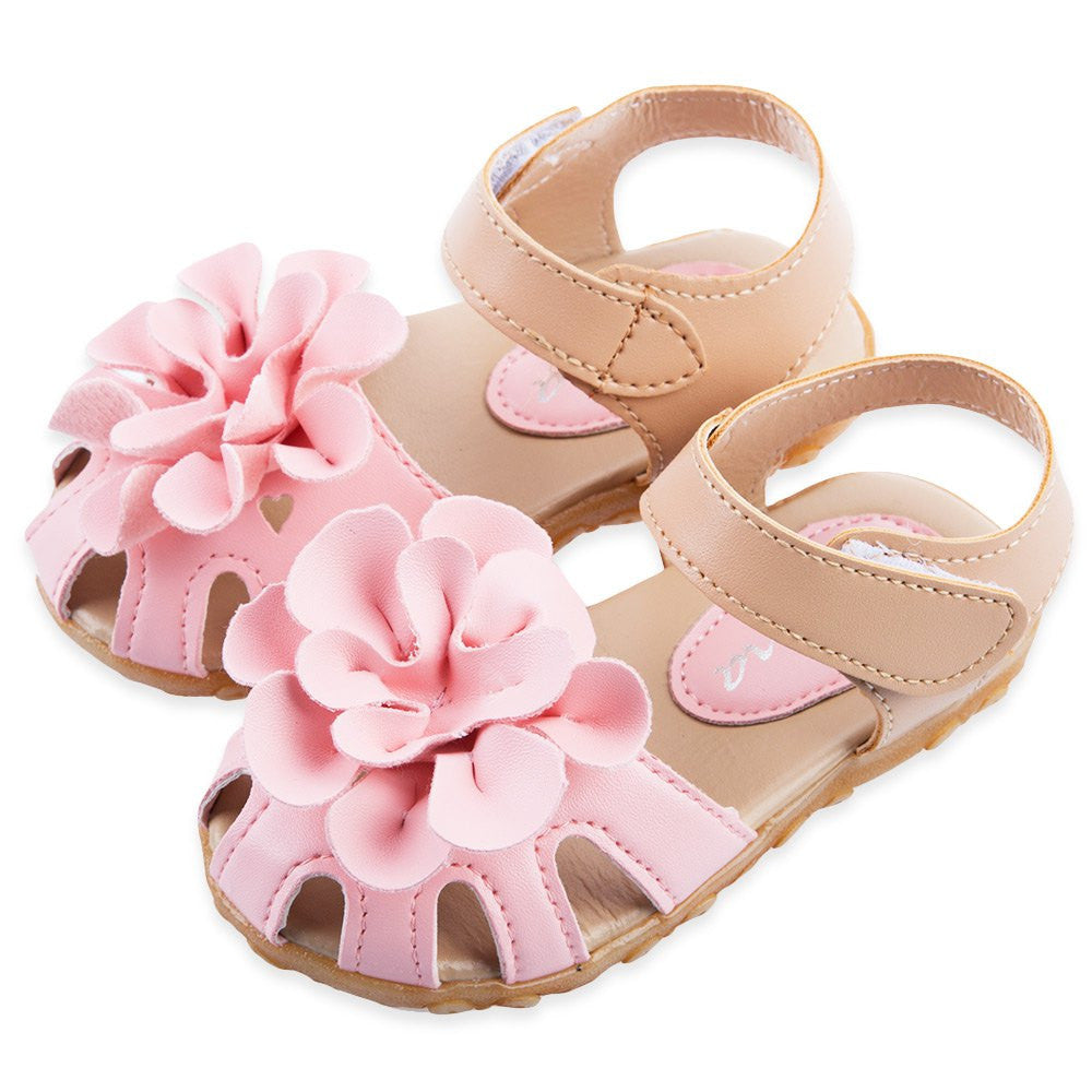Deals Blast: Cool PU Leather Girls Shoes kids Summer Baby Girls Sandals Shoes Skidproof Toddlers Infant Children Kids Flower Shoes Size 21-30 Deals Blast
