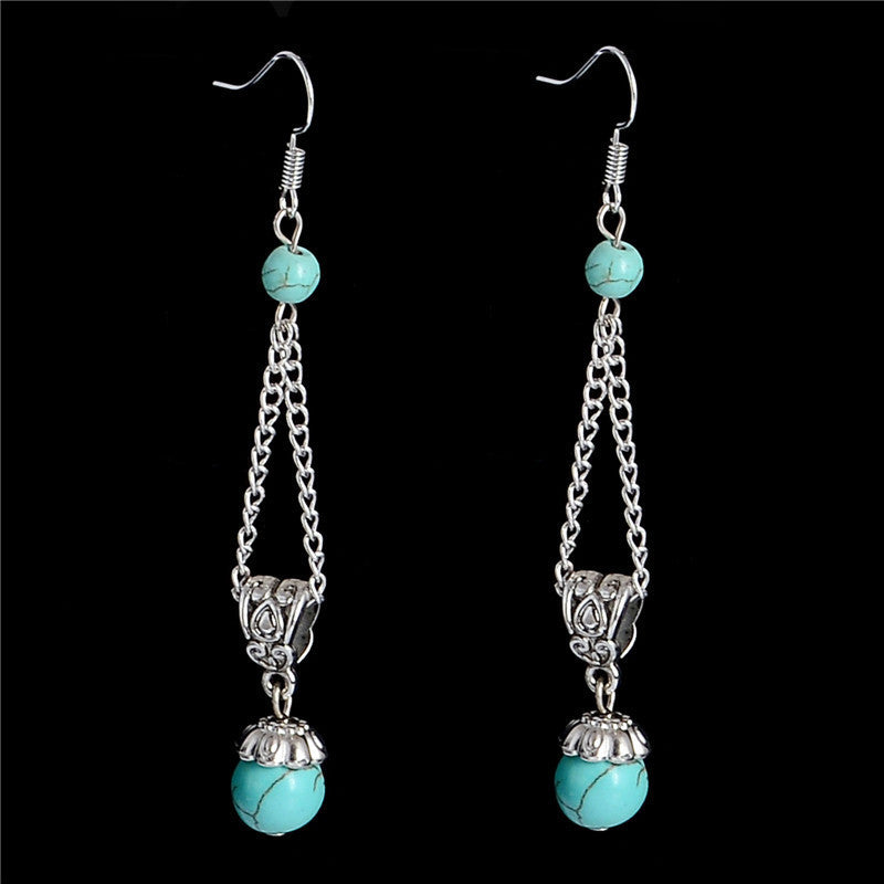 Deals Blast: Free Shipping 1pair=2pcs Bohemia Jewelry Ethnic Vintage Tibetan Silver Turquoise Stone 8cm Dangle Earrings Deals Blast