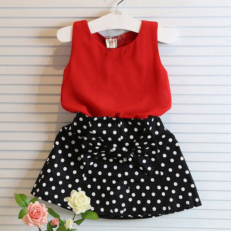 2pcs Baby Girl Clothes Set Sleeveless T-shirt+ Polka Dot Skirt Outfits Children Clothing Deals Blast