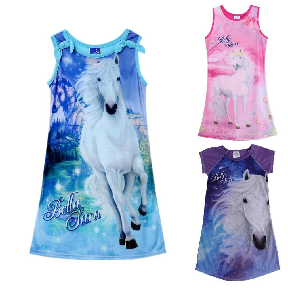 2016 new summer girls clothing Sleeveless Print Pattern Dresses For Girl Clothes  Fashion Cartoon A line Dress Vestidos: Deals Blast