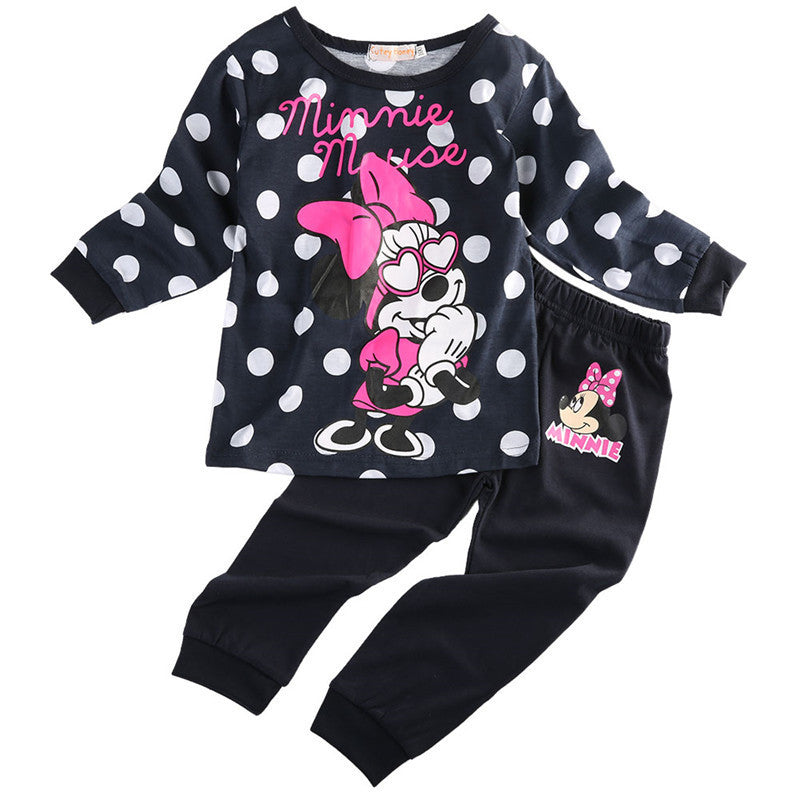2016 New  Arrival  Baby Kids Girls Clothing sets Long Sleeve  Minnie Dot Tops Shirt Pants 2pcs Outfits - Deals Blast