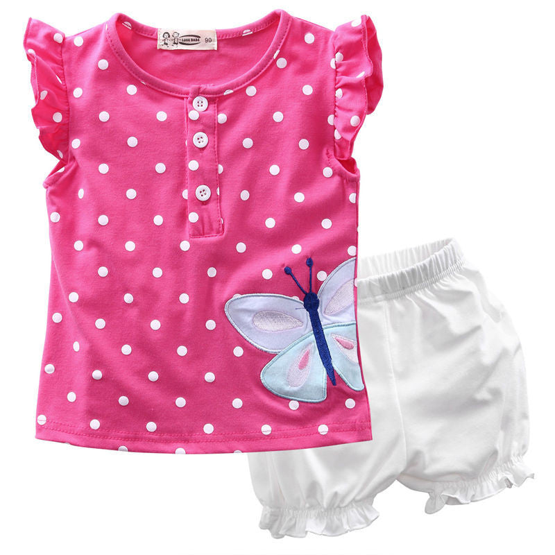 Deals Blast: 2Pcs Baby Girls Clothes Set Toddle Kids Summer Sleeveless Top Shirt and Cute Hot Pants for Little Girls Outfit Children Sets Deals Blast