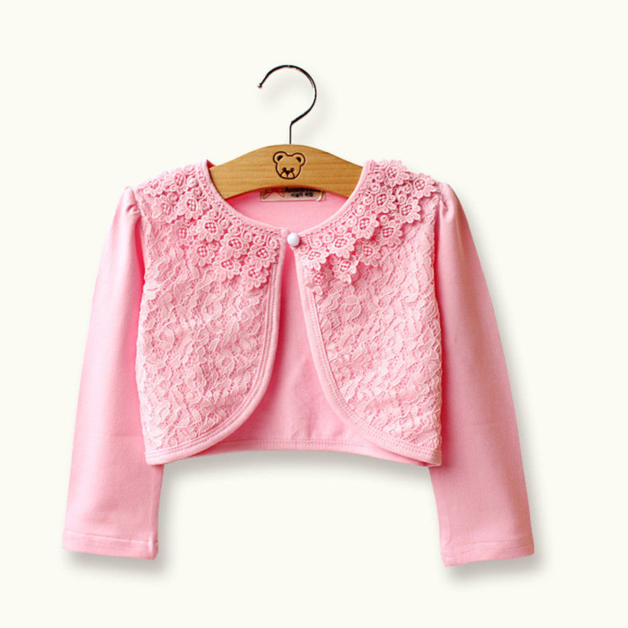 Deals Blast: 2016 spring summer new lolita style children cardigan cotton lace kids clothes sunblock outerwear to Collocation dress Deals Blast